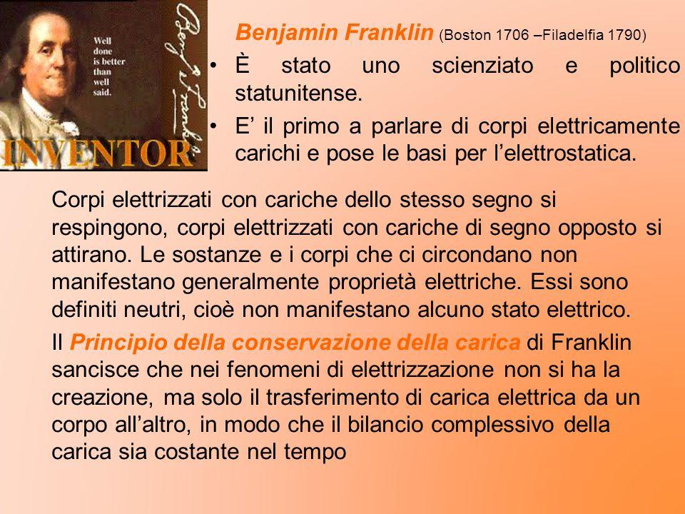 Benjamin Franklin (Boston 1706 –Filadelfia 1790) È stato uno scienziato e politico statunitense. E il primo a parlare di corpi elettricamente carichi