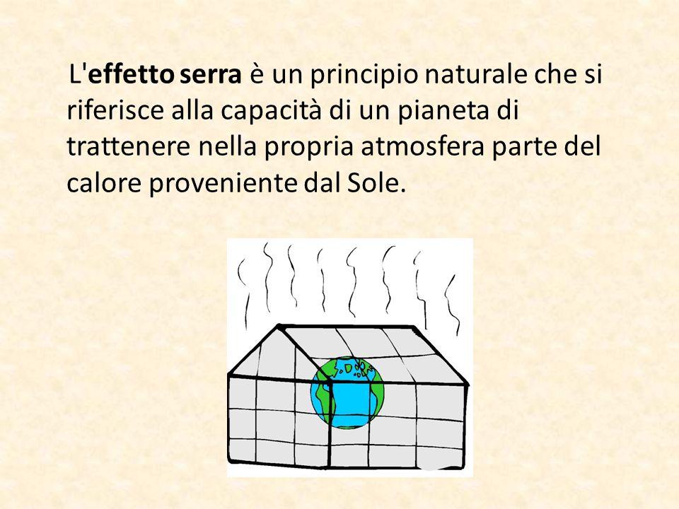 L atmosfera che avvolge la Terra si comporta come la vetrata di una grande serra perchè alcuni gas (gas- serra) presenti nell atmosfera, hanno la capacità di intrappolare all interno dell atmosfera le radiazioni infrarosse che vengono riflesse dalla superficie terrestre.