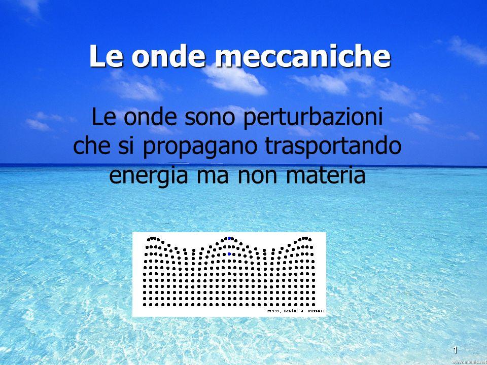 1 Le onde sono perturbazioni che si propagano trasportando energia ma non materia Le onde meccaniche
