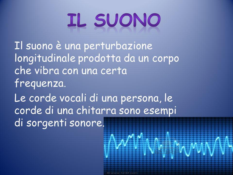 Il suono è una perturbazione longitudinale prodotta da un corpo che vibra con una certa frequenza.
