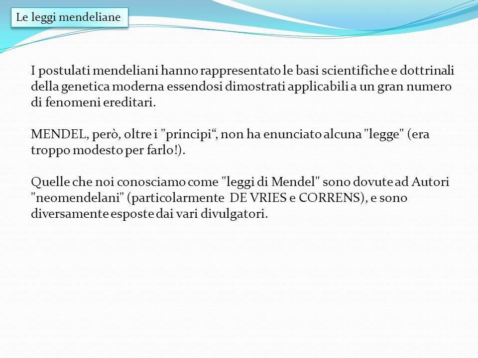 I postulati mendeliani hanno rappresentato le basi scientifiche e dottrinali della genetica moderna essendosi dimostrati applicabili a un gran numero