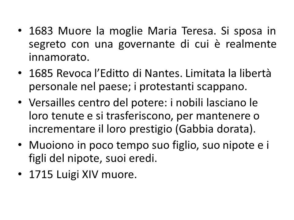 1683 Muore la moglie Maria Teresa.