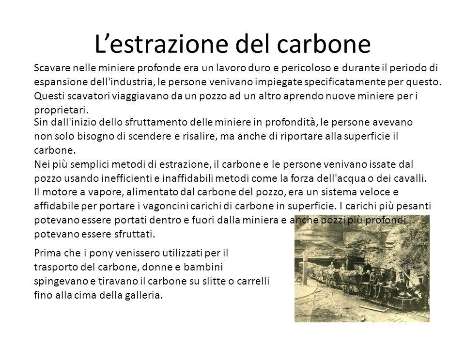 Lestrazione del carbone Prima che i pony venissero utilizzati per il trasporto del carbone, donne e bambini spingevano e tiravano il carbone su slitte
