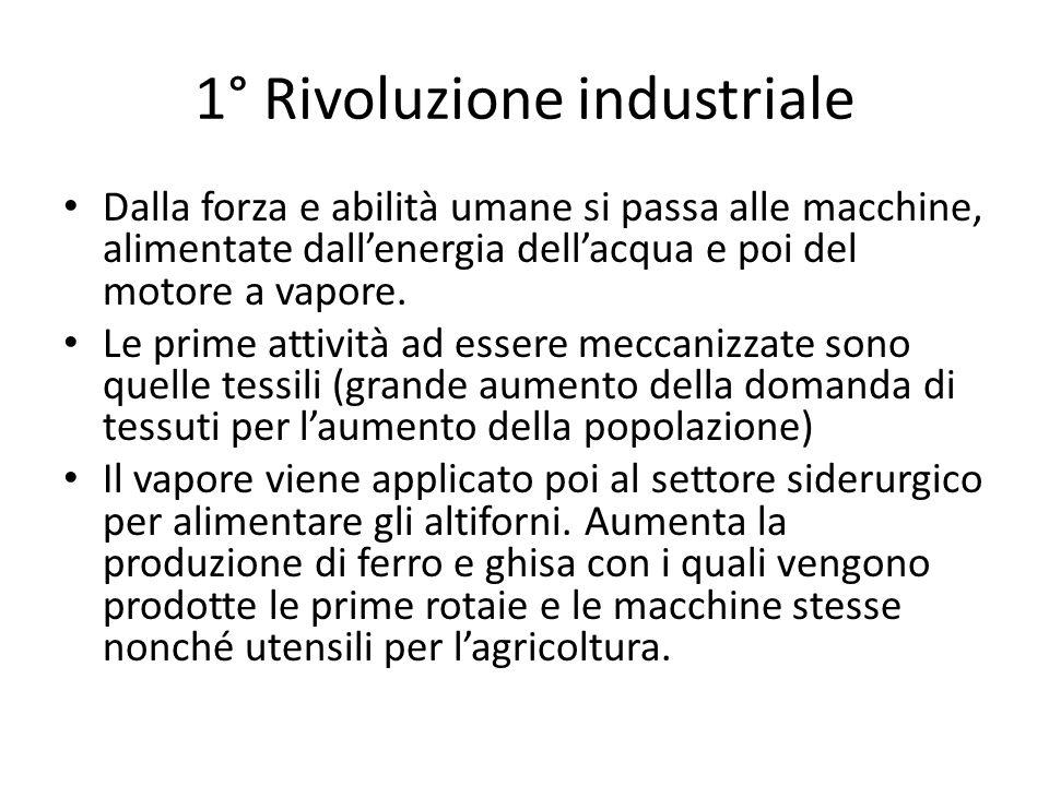 1° Rivoluzione industriale Dalla forza e abilità umane si passa alle macchine, alimentate dallenergia dellacqua e poi del motore a vapore. Le prime at
