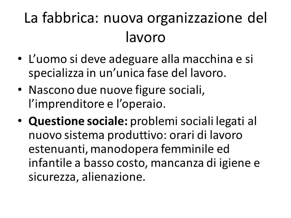 La fabbrica: nuova organizzazione del lavoro Luomo si deve adeguare alla macchina e si specializza in ununica fase del lavoro. Nascono due nuove figur