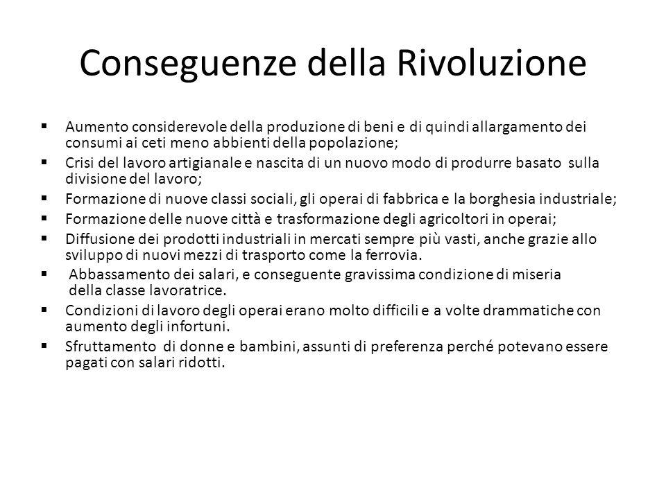Conseguenze della Rivoluzione Aumento considerevole della produzione di beni e di quindi allargamento dei consumi ai ceti meno abbienti della popolazi