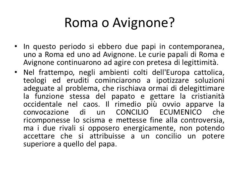 Concilio di Costanza (1414-1417) La soluzione della crisi fu possibile grazie all iniziativa di un Principe tedesco (poi imperatore) e del Papa di Roma (poi destituito tanto che il suo nome Giovanni XXIII fu riutilizzato nel XX secolo da Papa Roncalli).