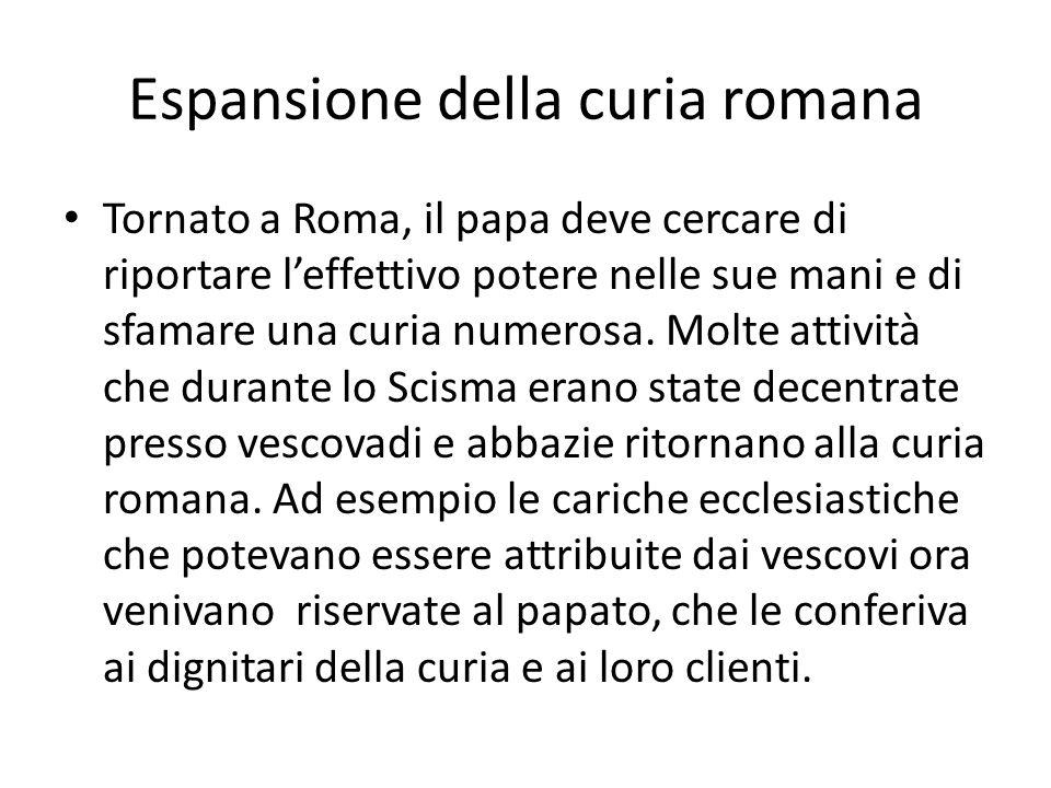Espansione della curia romana Tornato a Roma, il papa deve cercare di riportare leffettivo potere nelle sue mani e di sfamare una curia numerosa.