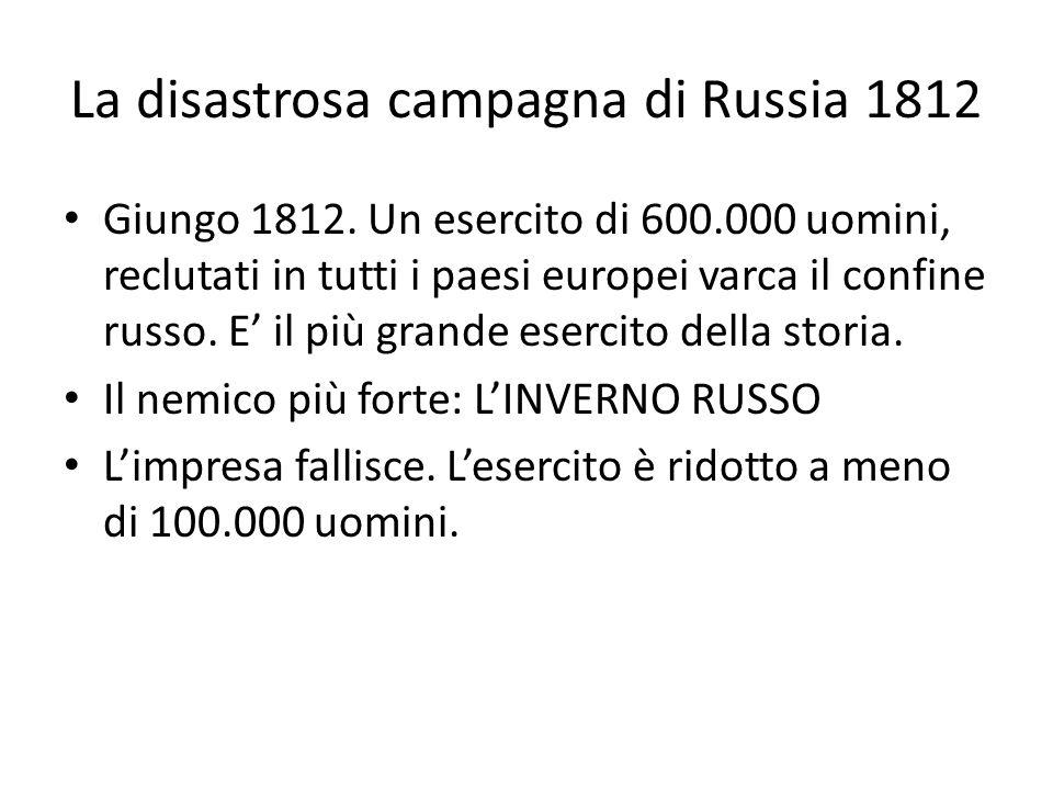 La disastrosa campagna di Russia 1812 Giungo 1812. Un esercito di 600.000 uomini, reclutati in tutti i paesi europei varca il confine russo. E il più