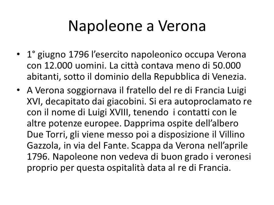 Napoleone a Verona 1° giugno 1796 lesercito napoleonico occupa Verona con 12.000 uomini. La città contava meno di 50.000 abitanti, sotto il dominio de