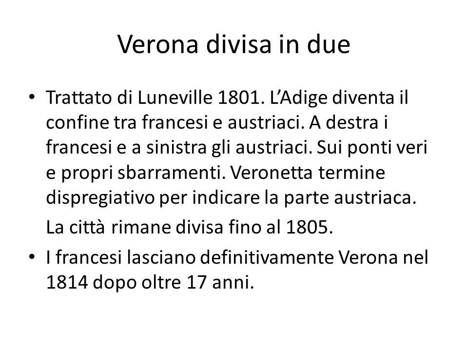 Verona divisa in due Trattato di Luneville 1801. LAdige diventa il confine tra francesi e austriaci. A destra i francesi e a sinistra gli austriaci. S