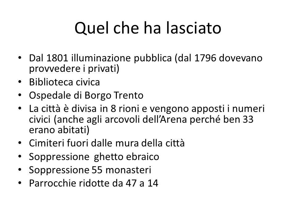 Quel che ha lasciato Dal 1801 illuminazione pubblica (dal 1796 dovevano provvedere i privati) Biblioteca civica Ospedale di Borgo Trento La città è di