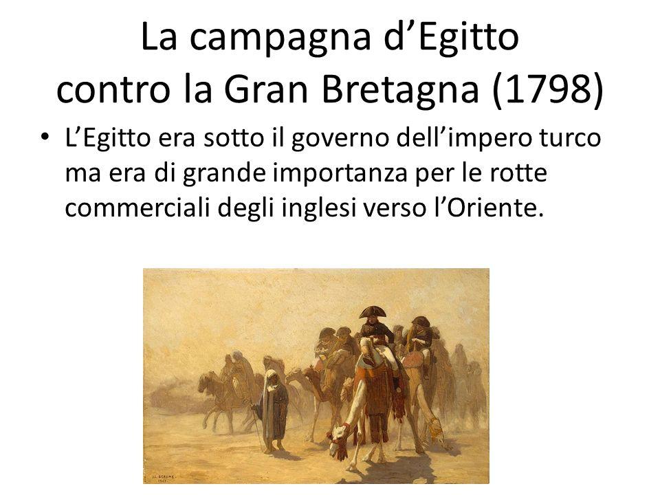 La campagna dEgitto contro la Gran Bretagna (1798) LEgitto era sotto il governo dellimpero turco ma era di grande importanza per le rotte commerciali