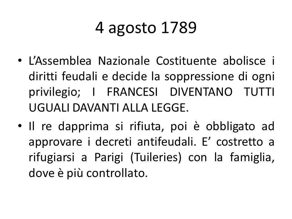 4 agosto 1789 LAssemblea Nazionale Costituente abolisce i diritti feudali e decide la soppressione di ogni privilegio; I FRANCESI DIVENTANO TUTTI UGUA