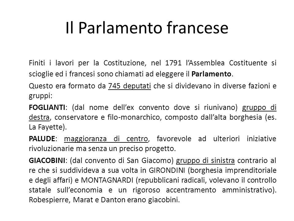 Il Parlamento francese Finiti i lavori per la Costituzione, nel 1791 lAssemblea Costituente si scioglie ed i francesi sono chiamati ad eleggere il Par
