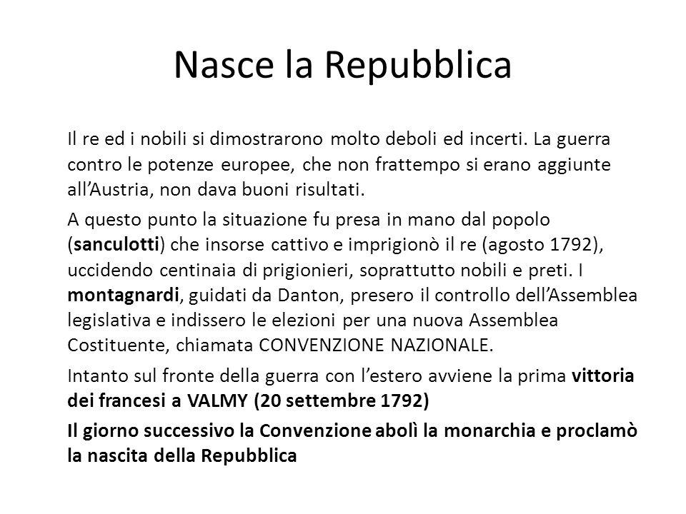 Nasce la Repubblica Il re ed i nobili si dimostrarono molto deboli ed incerti. La guerra contro le potenze europee, che non frattempo si erano aggiunt