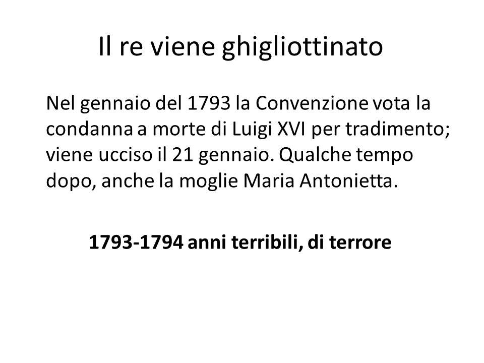 Il re viene ghigliottinato Nel gennaio del 1793 la Convenzione vota la condanna a morte di Luigi XVI per tradimento; viene ucciso il 21 gennaio. Qualc