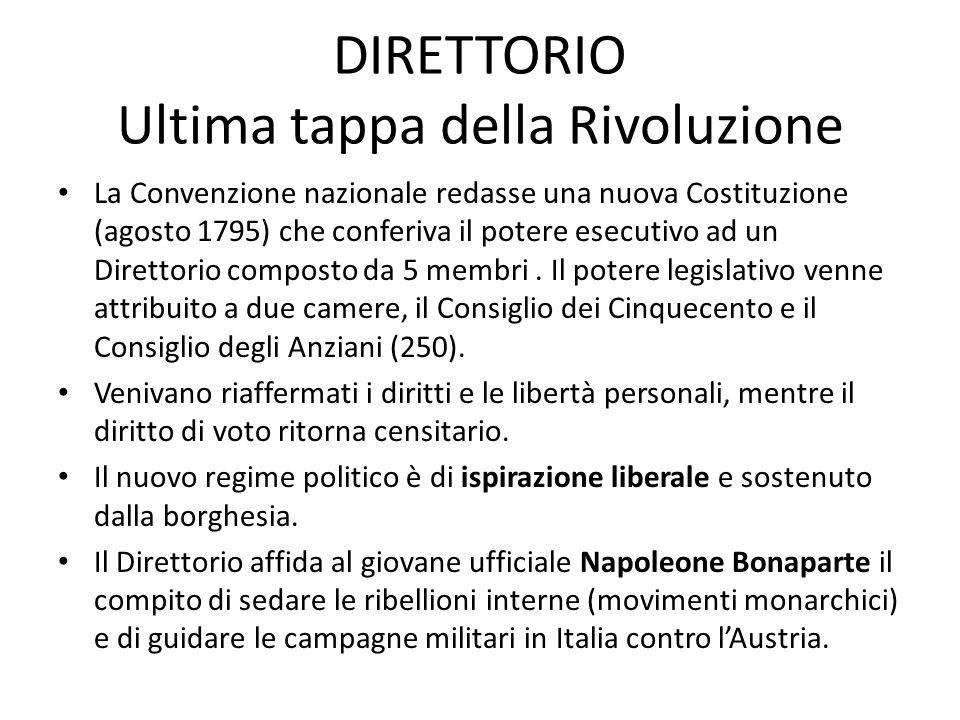 DIRETTORIO Ultima tappa della Rivoluzione La Convenzione nazionale redasse una nuova Costituzione (agosto 1795) che conferiva il potere esecutivo ad u