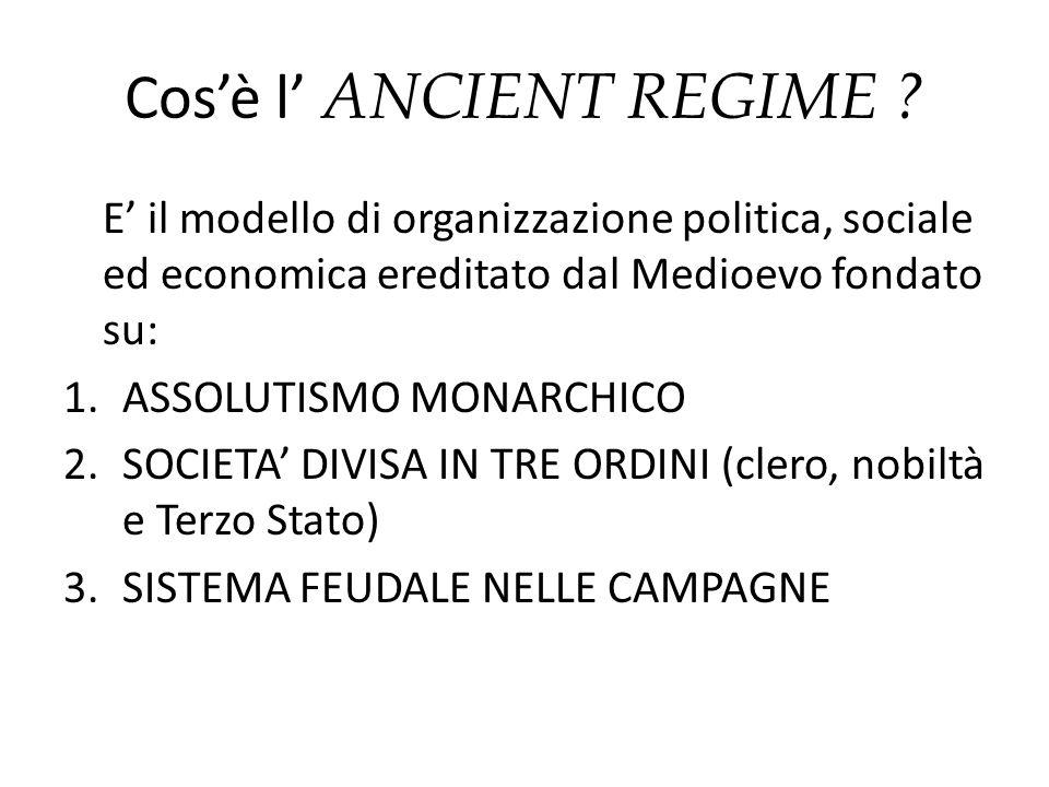 Cosè l ANCIENT REGIME ? E il modello di organizzazione politica, sociale ed economica ereditato dal Medioevo fondato su: 1.ASSOLUTISMO MONARCHICO 2.SO