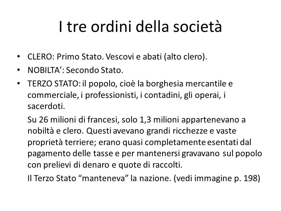 I tre ordini della società CLERO: Primo Stato. Vescovi e abati (alto clero). NOBILTA: Secondo Stato. TERZO STATO: il popolo, cioè la borghesia mercant