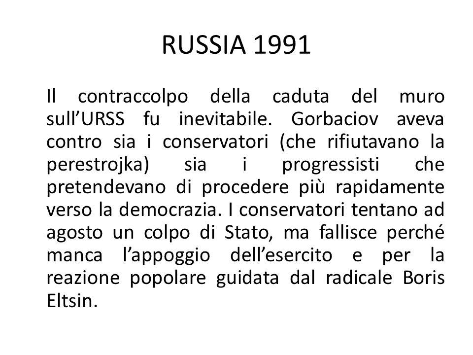 RUSSIA 1991 Il contraccolpo della caduta del muro sullURSS fu inevitabile.