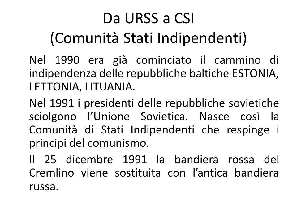 Da URSS a CSI (Comunità Stati Indipendenti) Nel 1990 era già cominciato il cammino di indipendenza delle repubbliche baltiche ESTONIA, LETTONIA, LITUANIA.