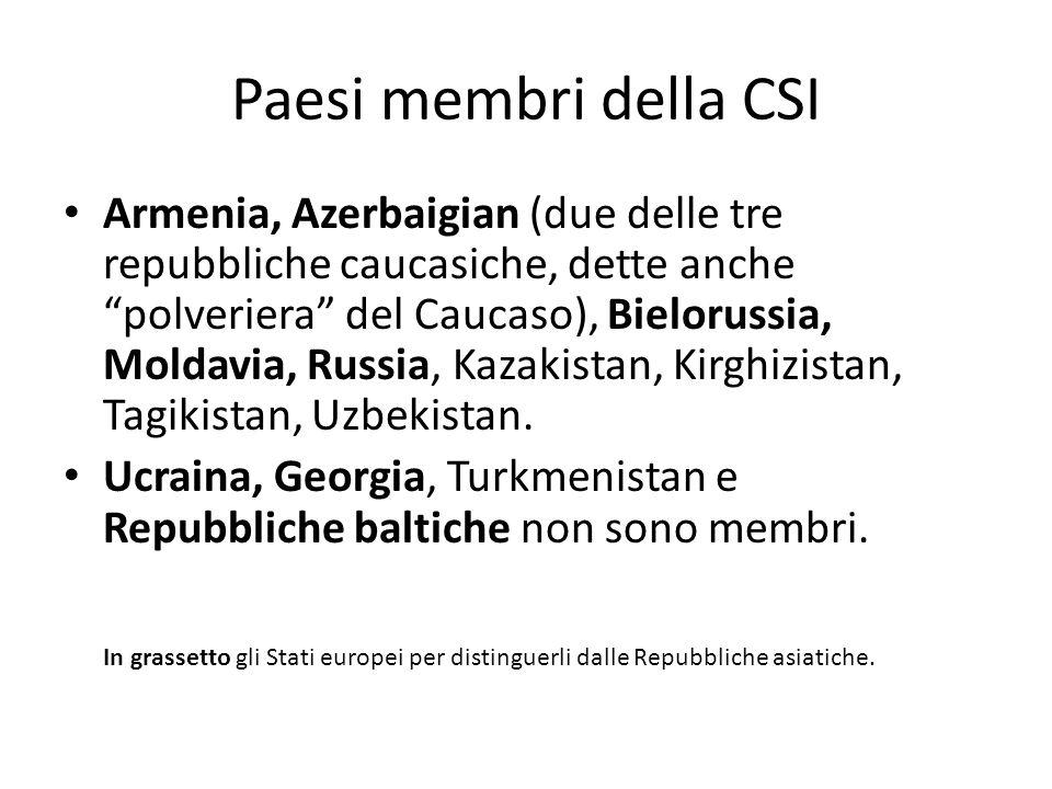 Paesi membri della CSI Armenia, Azerbaigian (due delle tre repubbliche caucasiche, dette anche polveriera del Caucaso), Bielorussia, Moldavia, Russia, Kazakistan, Kirghizistan, Tagikistan, Uzbekistan.