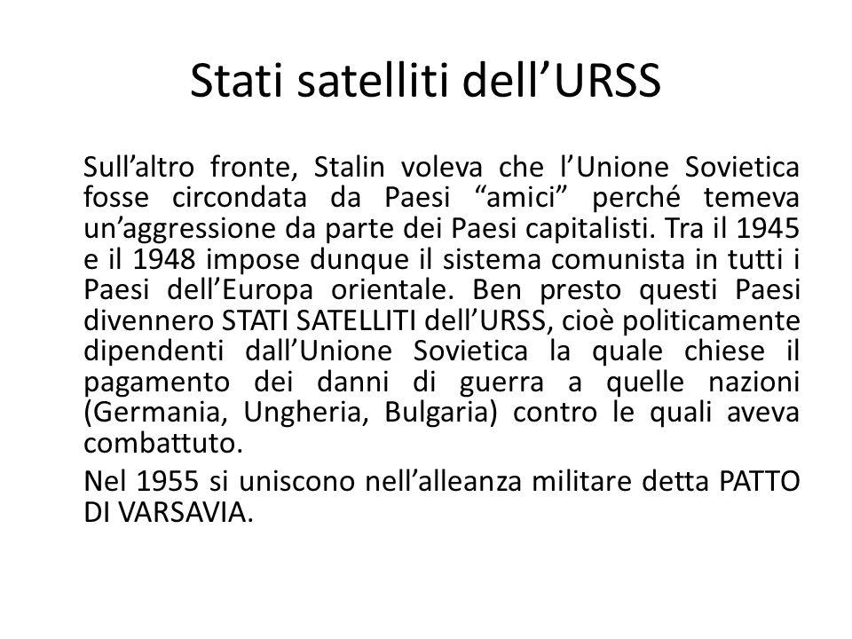 Stati satelliti dellURSS Sullaltro fronte, Stalin voleva che lUnione Sovietica fosse circondata da Paesi amici perché temeva unaggressione da parte dei Paesi capitalisti.