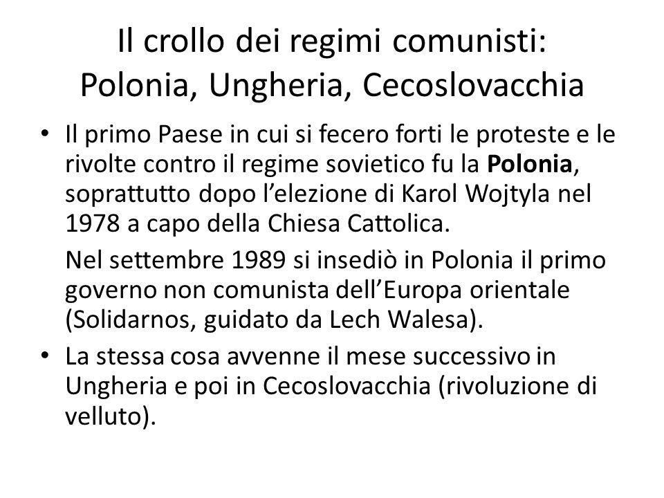 Il crollo dei regimi comunisti: Polonia, Ungheria, Cecoslovacchia Il primo Paese in cui si fecero forti le proteste e le rivolte contro il regime sovietico fu la Polonia, soprattutto dopo lelezione di Karol Wojtyla nel 1978 a capo della Chiesa Cattolica.