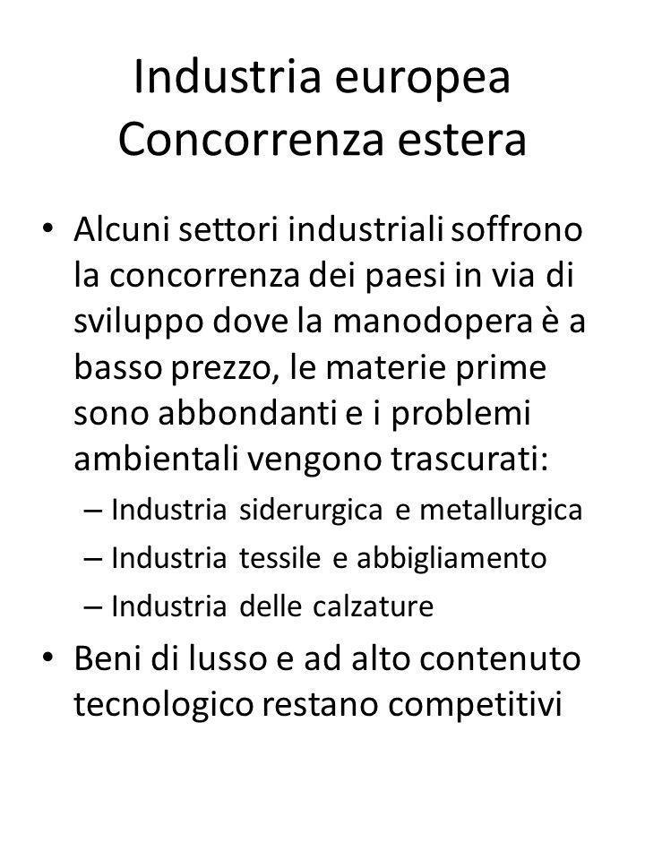 Industria europea Concorrenza estera Alcuni settori industriali soffrono la concorrenza dei paesi in via di sviluppo dove la manodopera è a basso prez