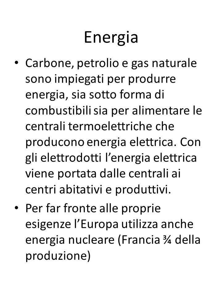 Energia Carbone, petrolio e gas naturale sono impiegati per produrre energia, sia sotto forma di combustibili sia per alimentare le centrali termoelet