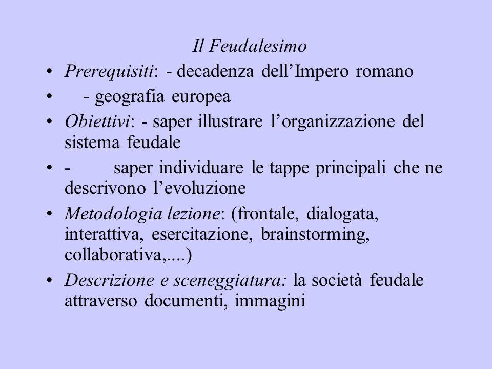 Il Feudalesimo Prerequisiti: - decadenza dellImpero romano - geografia europea Obiettivi: - saper illustrare lorganizzazione del sistema feudale - sap