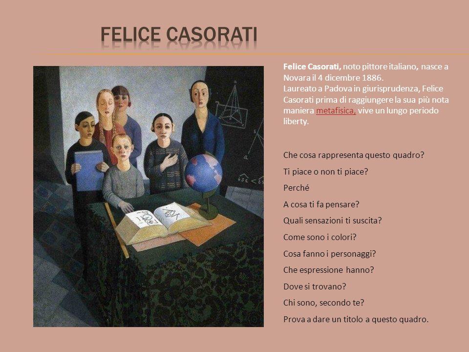 Felice Casorati, noto pittore italiano, nasce a Novara il 4 dicembre 1886. Laureato a Padova in giurisprudenza, Felice Casorati prima di raggiungere l