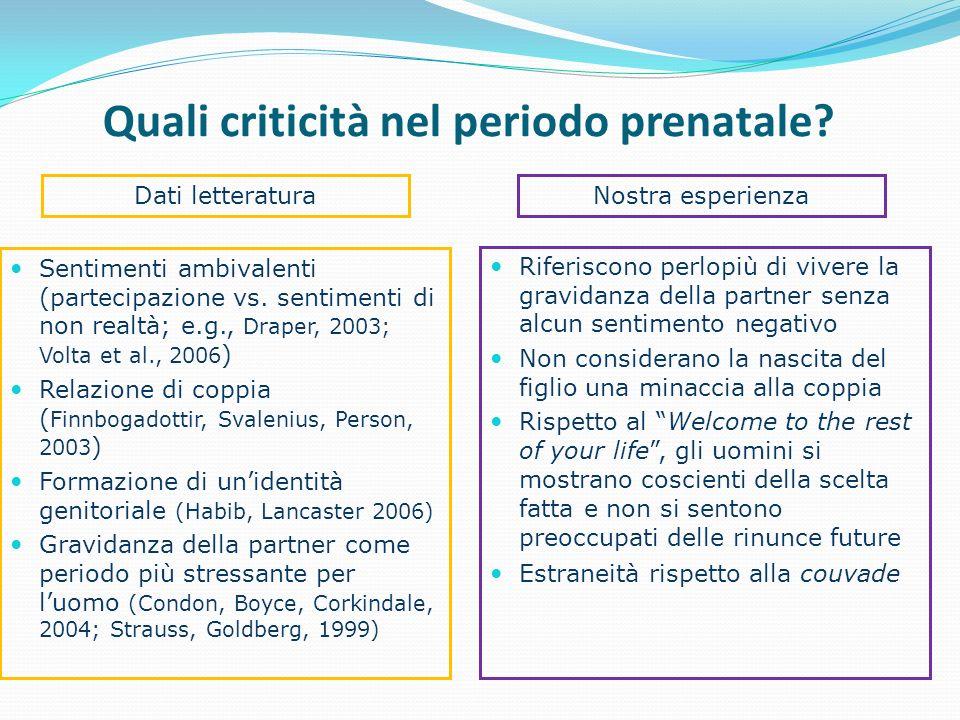 Quali criticità nel periodo prenatale? Sentimenti ambivalenti (partecipazione vs. sentimenti di non realtà; e.g., Draper, 2003; Volta et al., 2006 ) R