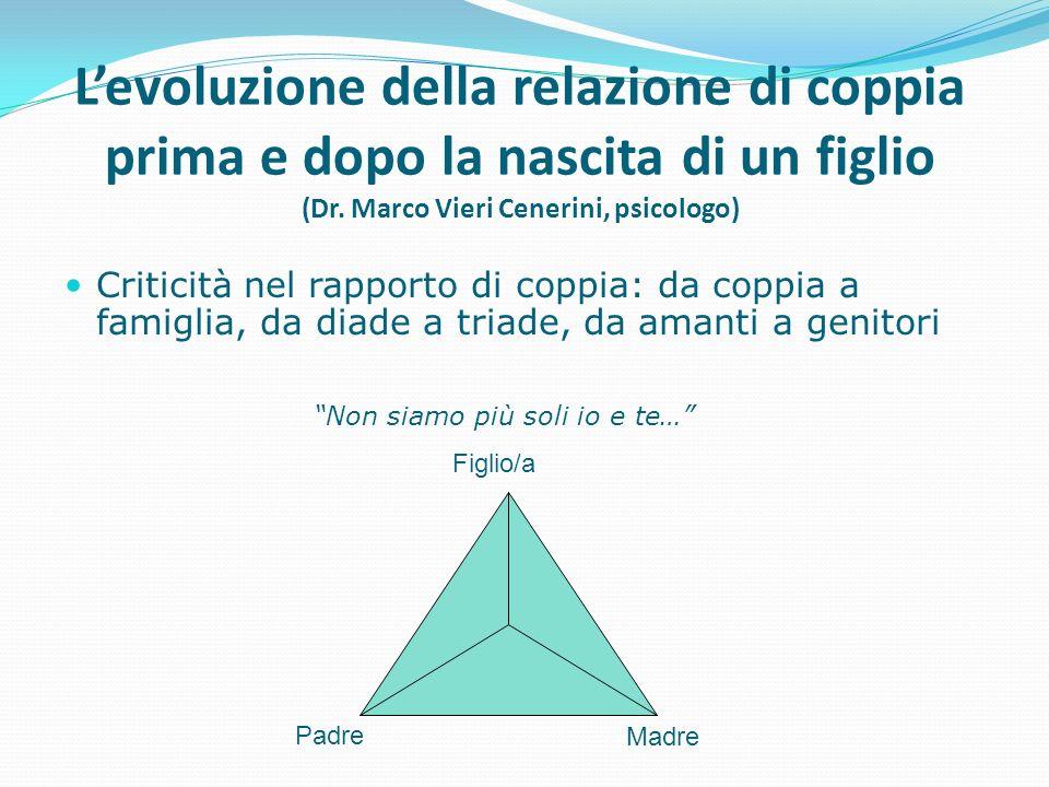 Levoluzione della relazione di coppia prima e dopo la nascita di un figlio (Dr. Marco Vieri Cenerini, psicologo) Criticità nel rapporto di coppia: da
