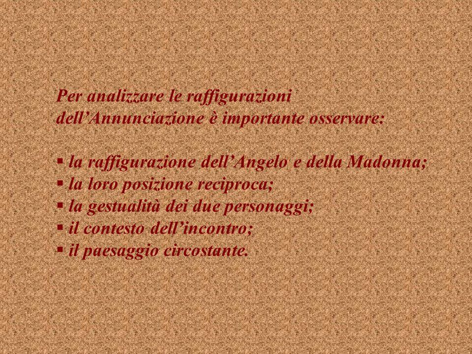 Per analizzare le raffigurazioni dellAnnunciazione è importante osservare: la raffigurazione dellAngelo e della Madonna; la loro posizione reciproca; la gestualità dei due personaggi; il contesto dellincontro; il paesaggio circostante.