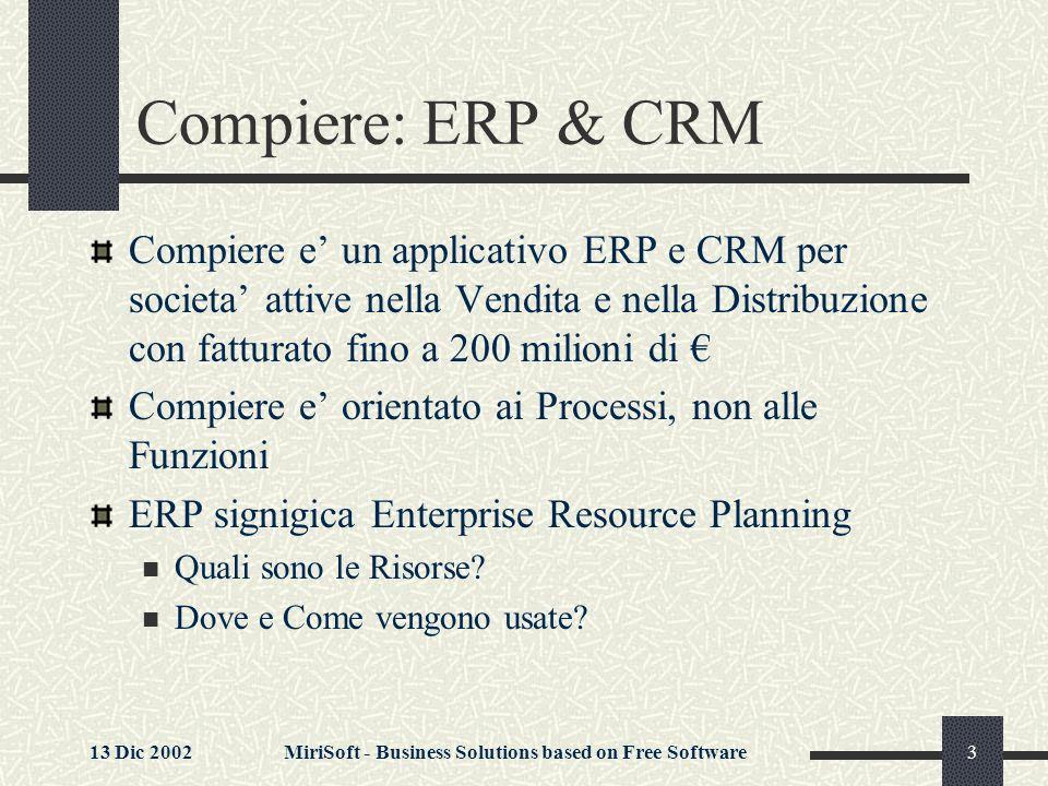 13 Dic 2002MiriSoft - Business Solutions based on Free Software14 Flusso delle Informazioni Nota: I servizi di Manutenzione in Garanzia e le connessioni con la Contabilita non sono indicate per semplicificare la rappresentazione.