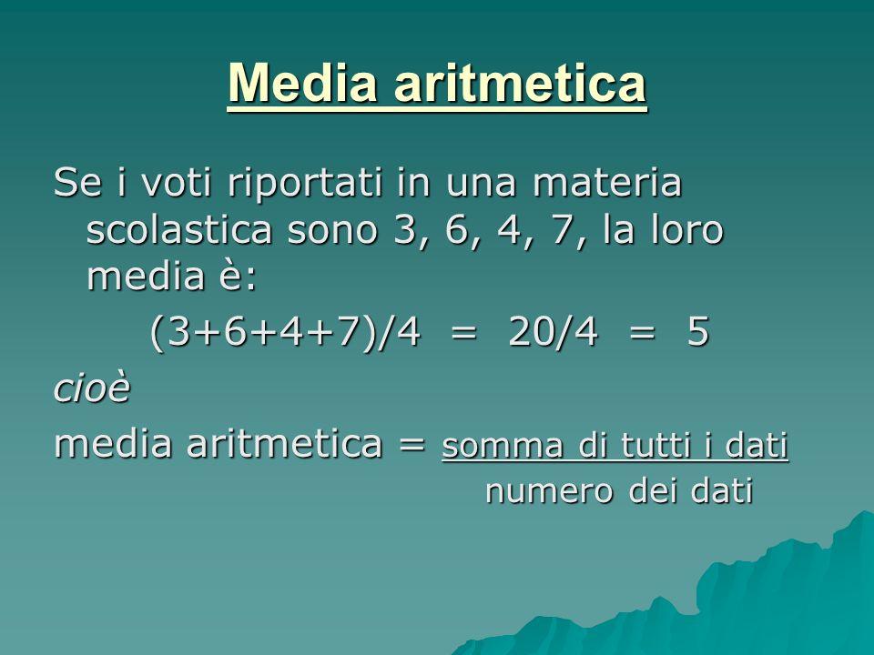 Media aritmetica Se i voti riportati in una materia scolastica sono 3, 6, 4, 7, la loro media è: (3+6+4+7)/4 = 20/4 = 5 (3+6+4+7)/4 = 20/4 = 5cioè med