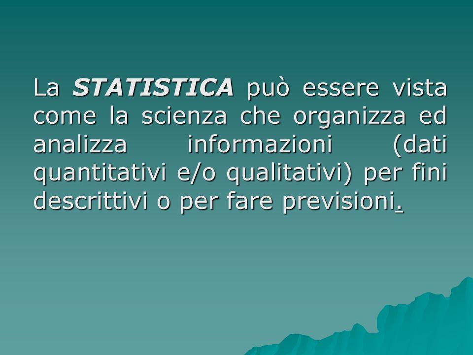 Statistica descrittiva La statistica è lo studio quantitativo dei fenomeni collettivi La statistica è lo studio quantitativo dei fenomeni collettivi Studio quantitativo perché realizzato tramite numeri Studio quantitativo perché realizzato tramite numeri Fenomeni collettivi perché riguardano una pluralità di elementi Fenomeni collettivi perché riguardano una pluralità di elementi