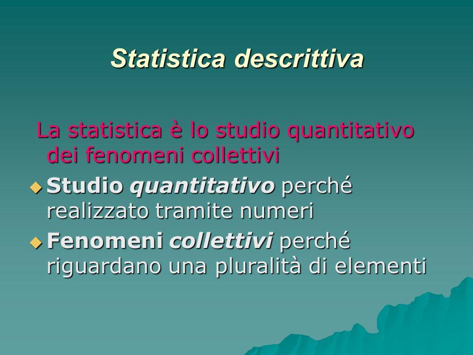 Statistica descrittiva La statistica è lo studio quantitativo dei fenomeni collettivi La statistica è lo studio quantitativo dei fenomeni collettivi S