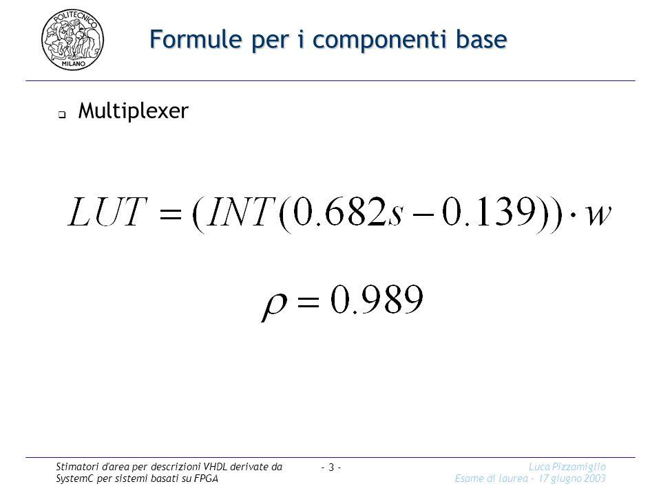Stimatori d area per descrizioni VHDL derivate da SystemC per sistemi basati su FPGA Luca Pizzamiglio Esame di laurea – 17 giugno 2003 - 3 - Formule per i componenti base Multiplexer