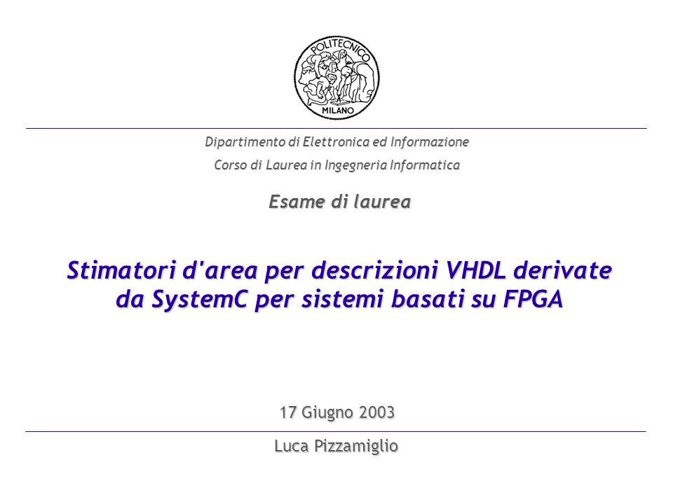 Luca Pizzamiglio Dipartimento di Elettronica ed Informazione Corso di Laurea in Ingegneria Informatica 17 Giugno 2003 Stimatori d area per descrizioni VHDL derivate da SystemC per sistemi basati su FPGA Esame di laurea
