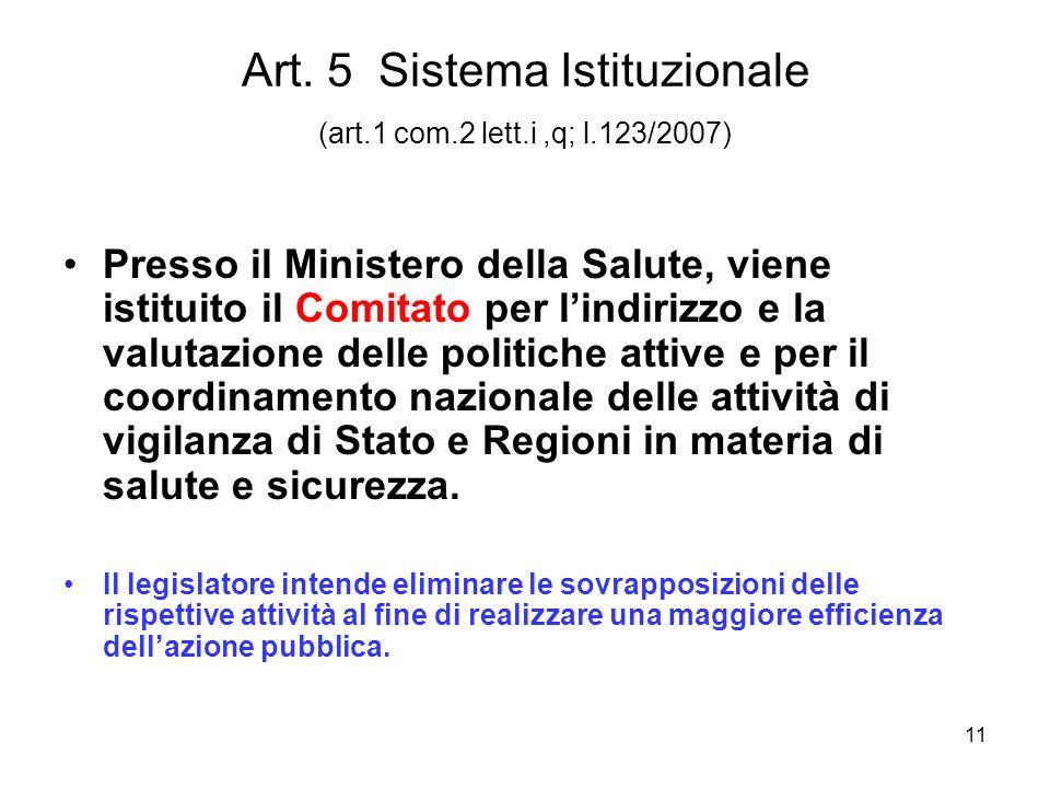 11 Art. 5 Sistema Istituzionale (art.1 com.2 lett.i,q; l.123/2007) Presso il Ministero della Salute, viene istituito il Comitato per lindirizzo e la v