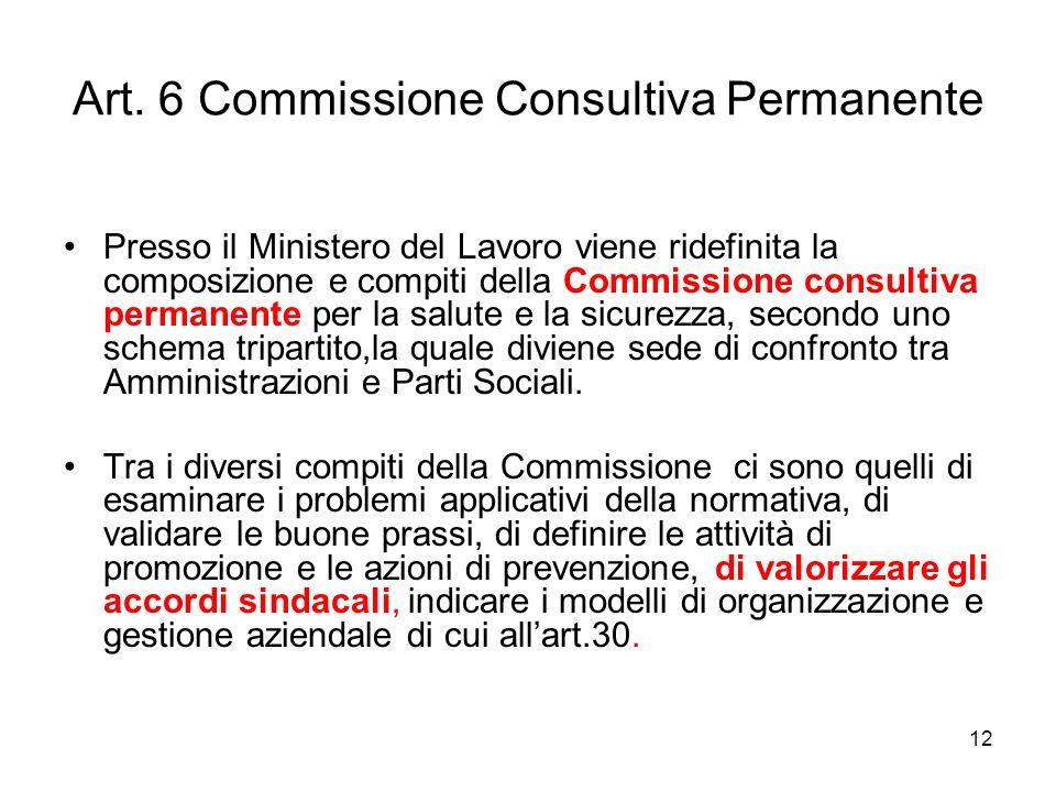 12 Art. 6 Commissione Consultiva Permanente Presso il Ministero del Lavoro viene ridefinita la composizione e compiti della Commissione consultiva per