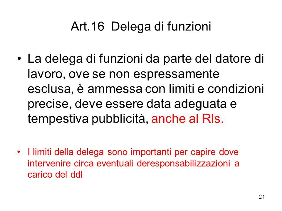 21 Art.16 Delega di funzioni La delega di funzioni da parte del datore di lavoro, ove se non espressamente esclusa, è ammessa con limiti e condizioni