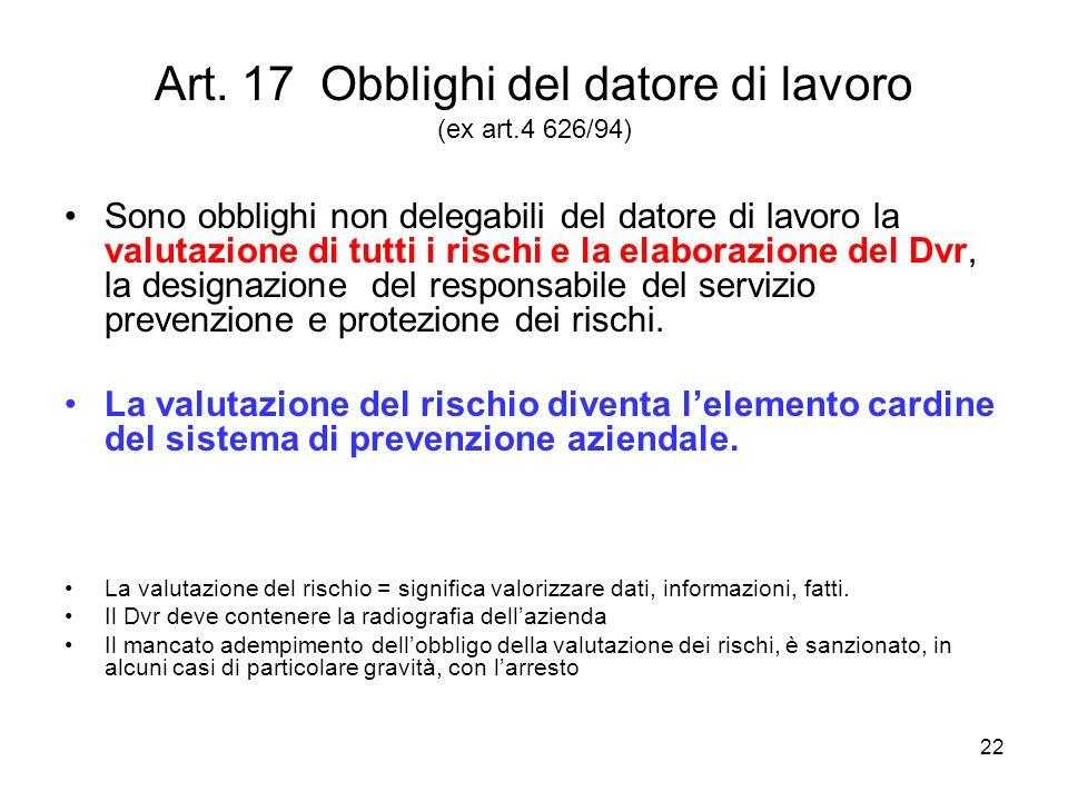 22 Art. 17 Obblighi del datore di lavoro (ex art.4 626/94) Sono obblighi non delegabili del datore di lavoro la valutazione di tutti i rischi e la ela