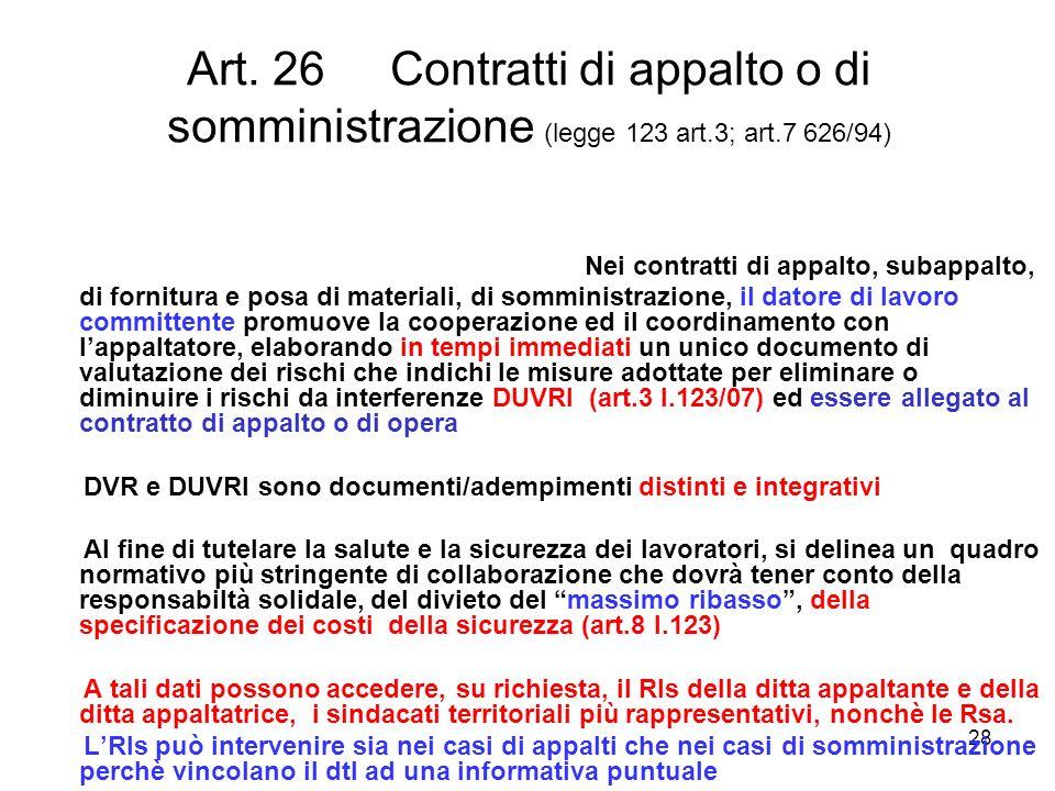 28 Art. 26 Contratti di appalto o di somministrazione (legge 123 art.3; art.7 626/94) Nei contratti di appalto, subappalto, di fornitura e posa di mat