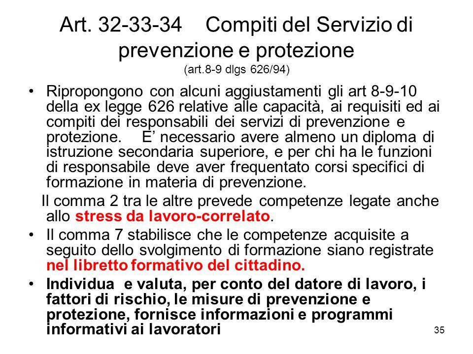 35 Art. 32-33-34 Compiti del Servizio di prevenzione e protezione (art.8-9 dlgs 626/94) Ripropongono con alcuni aggiustamenti gli art 8-9-10 della ex