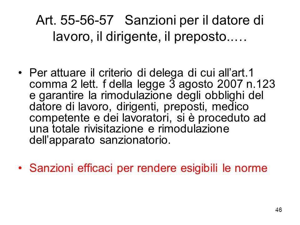 46 Art. 55-56-57 Sanzioni per il datore di lavoro, il dirigente, il preposto..… Per attuare il criterio di delega di cui allart.1 comma 2 lett. f dell