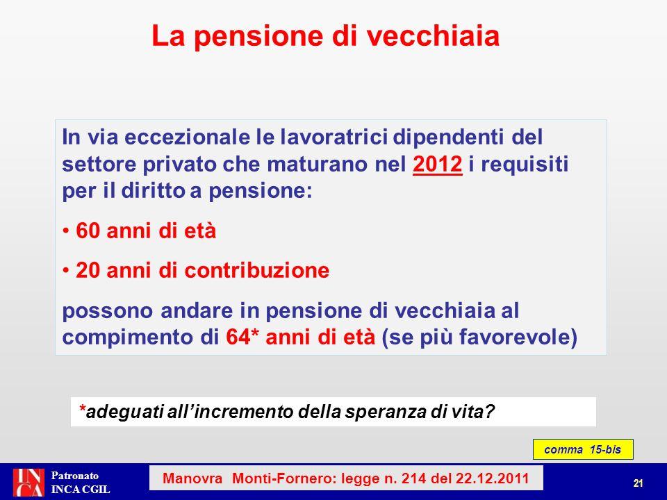 Patronato INCA CGIL comma 15-bis La pensione di vecchiaia 21 Manovra Monti-Fornero: legge n. 214 del 22.12.2011 In via eccezionale le lavoratrici dipe